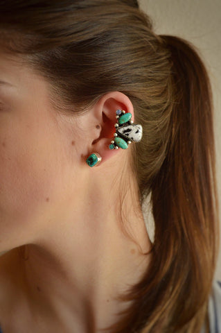 White Buffalo, Kingman Turquoise and Opal Ear Cuff