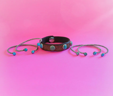 4 Kingman Turquoise Leather Bracelet