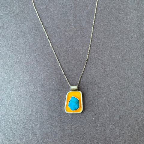 Kingman Turquoise and Yellow Pendent