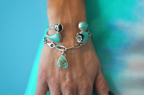 Quartz and Kingman Turquoise Moon Cuff