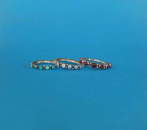 Opal Eternity Band and Purple Spiny Oyster 3/4 Band
