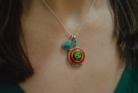 Vintage Gucci Button and Royston Pendent
