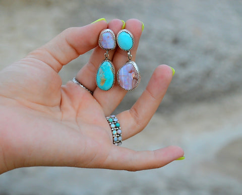 Fire Opal and Royston Turquoise Earrings