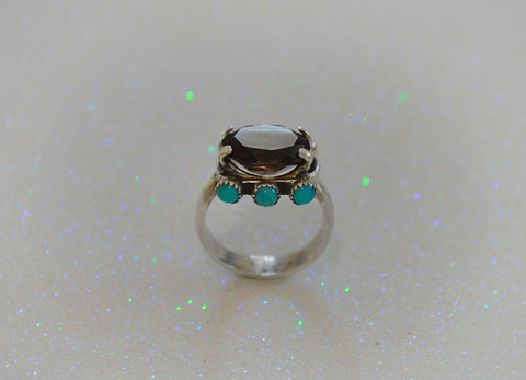 Smoky Quarts and Kingman Turquoise Ring (7)