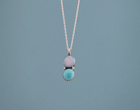 Royston Turquoise and Opal Necklace