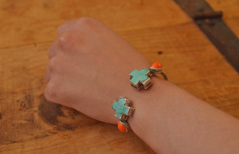 Kingman Turquoise and Vintage Orange Glass Cuff