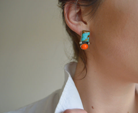 Kingman Turquoise and Vintage Orange Studs