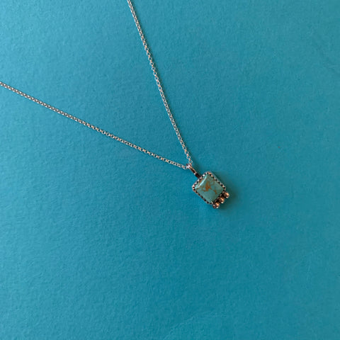 Kingman Turquoise Square Necklace