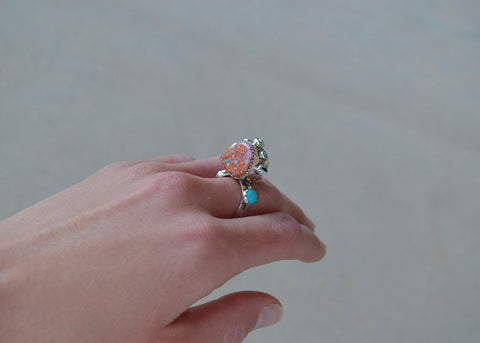 Jumbo Opal and Royston Turquoise Ring (size 8)