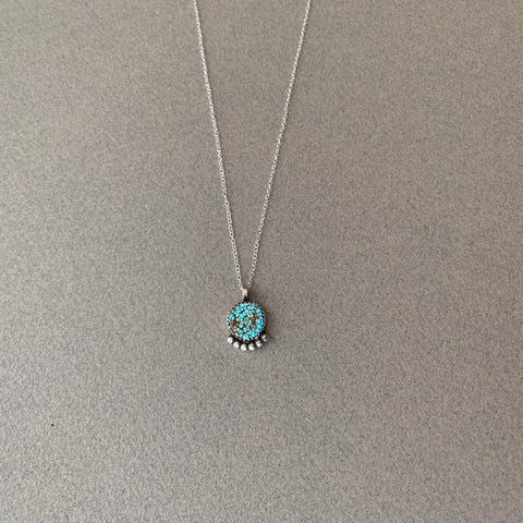 Number 8 Turquoise Necklace 16""