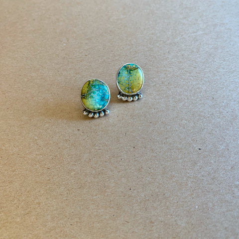 Large Blue Moon Turquoise Studs