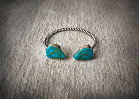 Sterling Silver and Kingman Turquoise Cuff