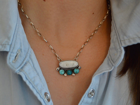 White Buffalo and Carico Lake Turquoise Adjustable Necklace