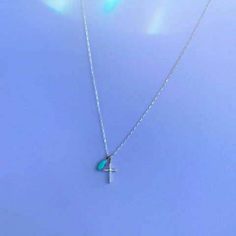 Dainty Kingman Turquoise Cross Necklace