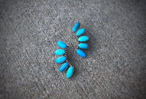 Sterling Silver and Kingman Turquoise Fan Earrings