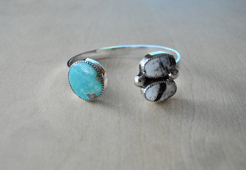 Royston Turquoise and White Buffalo Cuff