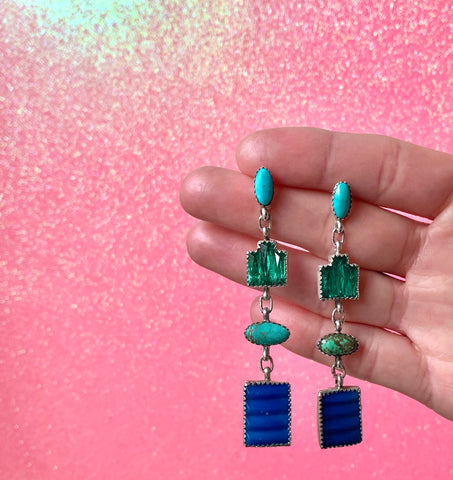 Vintage Glass and Carico Lake Turquoise Earrings
