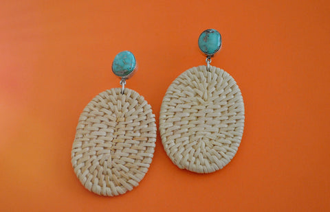 Royston Turquoise Basket Weave Earrings