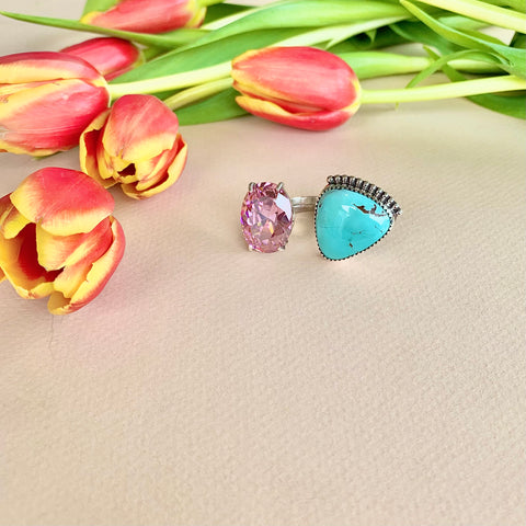 Royston Turquoise and Pink Gem Ring (8.5)