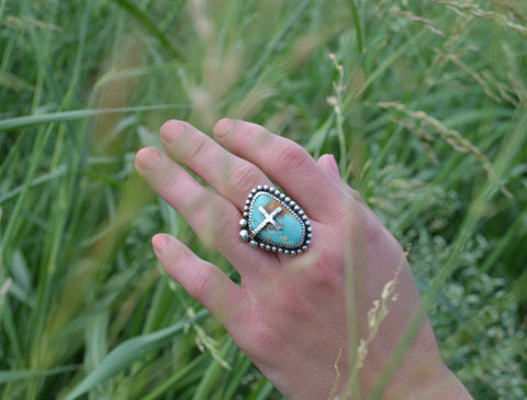 Royston Turquoise Cross Ring (8)