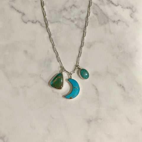 "Multi Stone Moon Turquoise Necklace (18"")"