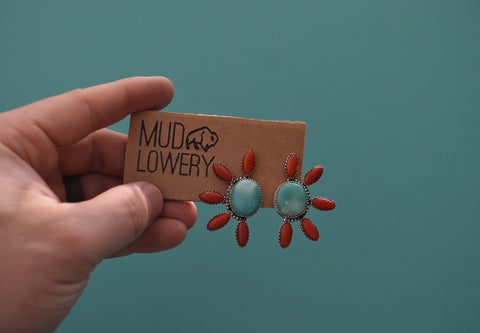 Royston Turquoise and Bamboo Coral Earrings