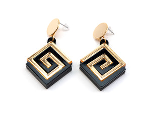 FORM057 UXMAL Stud Earrings - Gold, Black