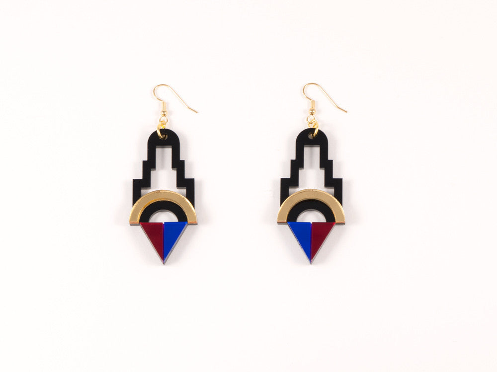 FORM001 Earrings - Gold, Red, Blue
