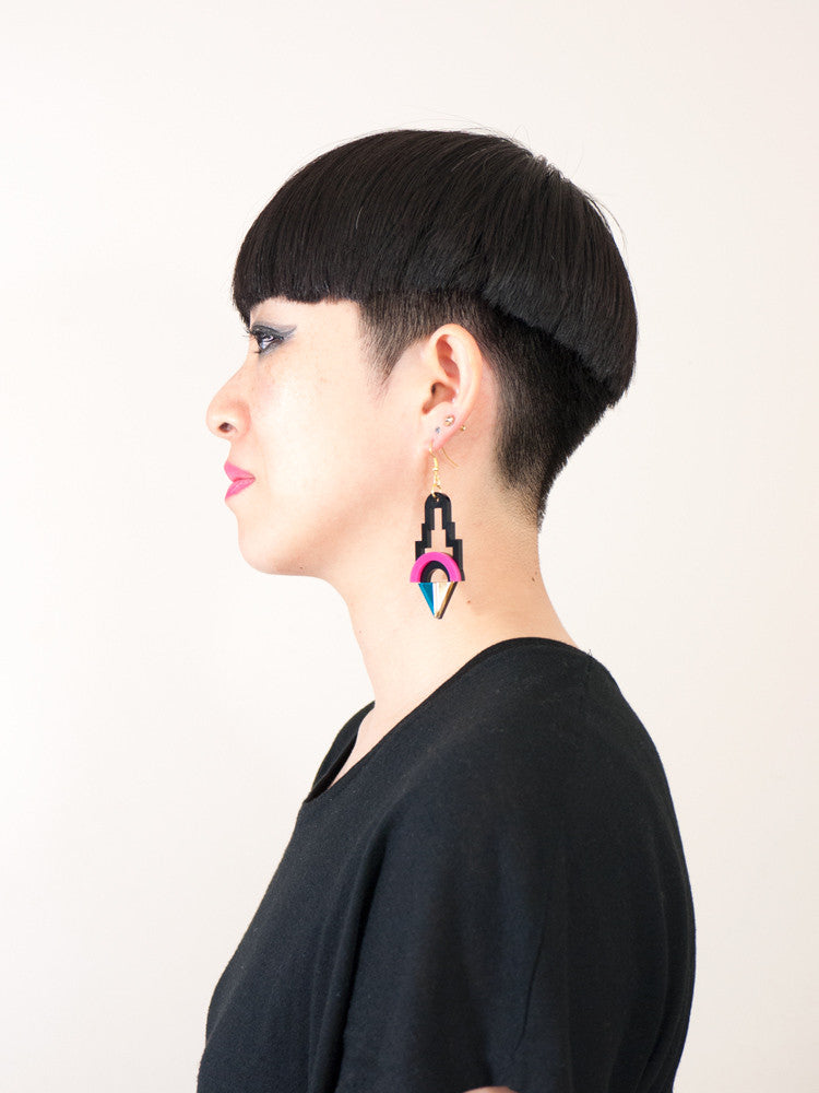 FORM001 Earrings - Pink, Gold, Teal