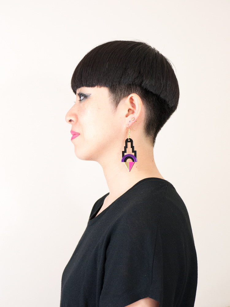 FORM001 Earrings - Purple, Gold, Pink