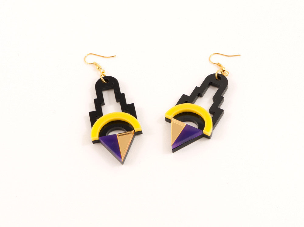 FORM001 Earrings - Yellow, Purple, Gold