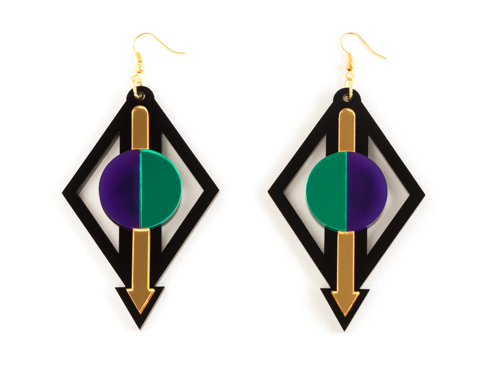 FORM002 Earrings - Gold, Green, Purple