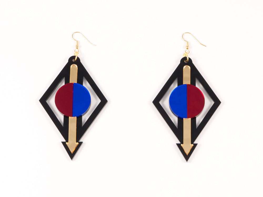 FORM002 Earrings - Gold, Red, Blue