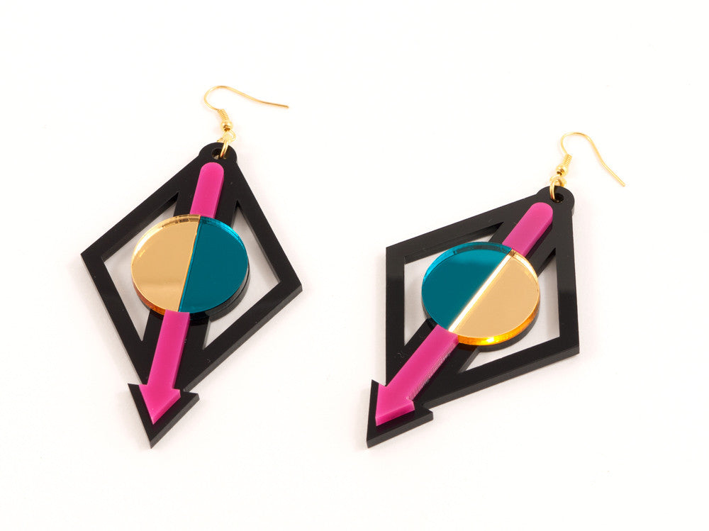 FORM002 Earrings - Pink, Teal, Gold