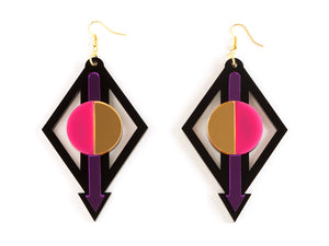 FORM002 Earrings - Purple, Pink, Gold