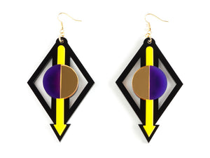 FORM002 Earrings - Yellow, Purple, Gold