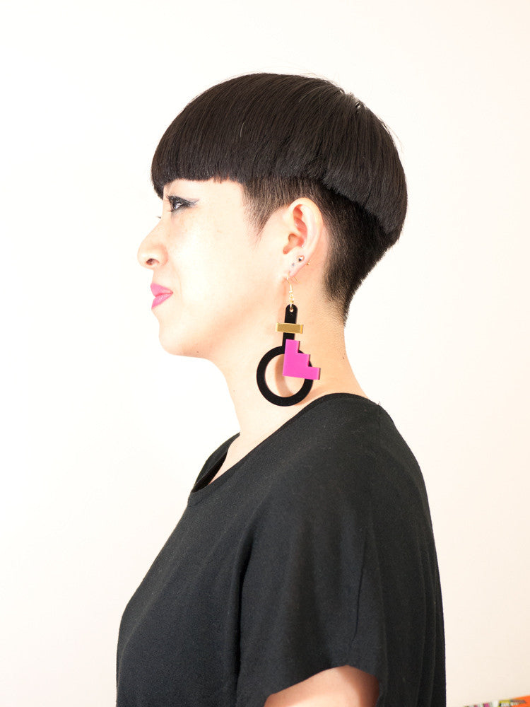 FORM003 Earrings - Gold, Pink