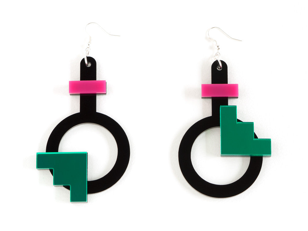 FORM003 Earrings - Pink, Green