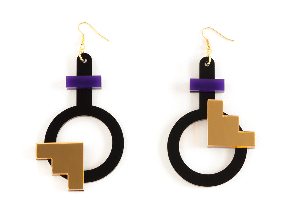 FORM003 Earrings - Purple, Gold