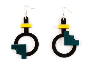 FORM003 Earrings - Yellow, Teal