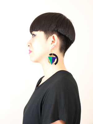 FORM004 Earrings - Gold, Purple, Green