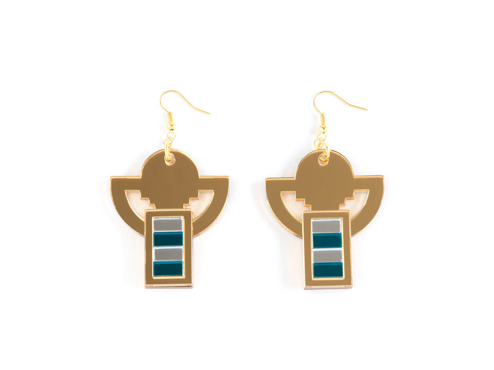 FORM006 Earrings - Gold, Silver, Teal
