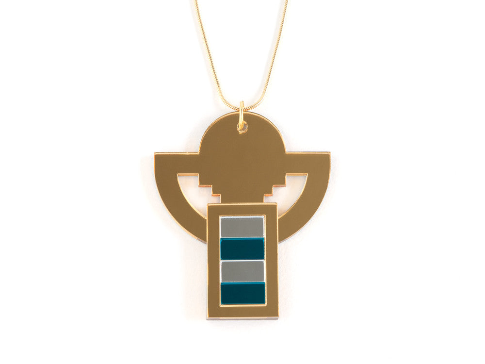 FORM008 Necklace - Gold, Silver, Teal