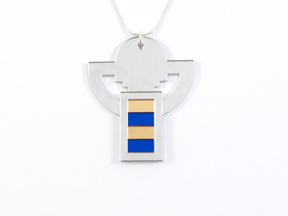 FORM008 Necklace - Silver, Gold, Blue