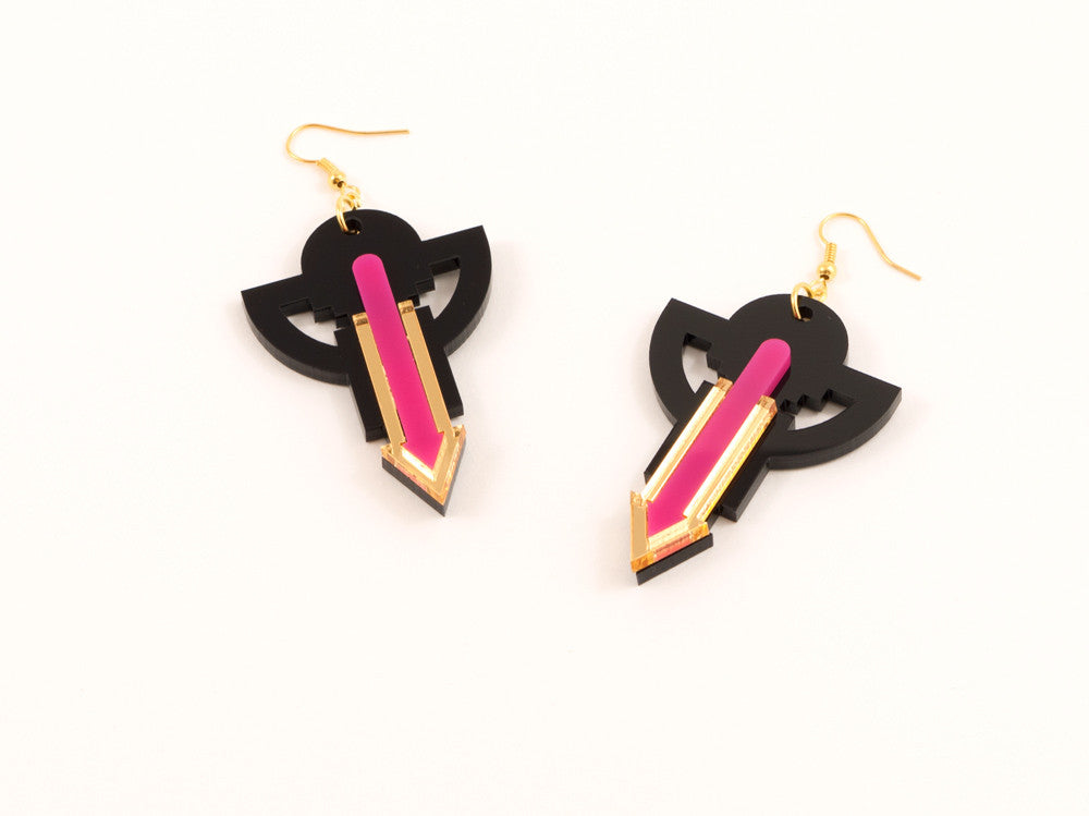 FORM009 Earrings - Gold, Pink