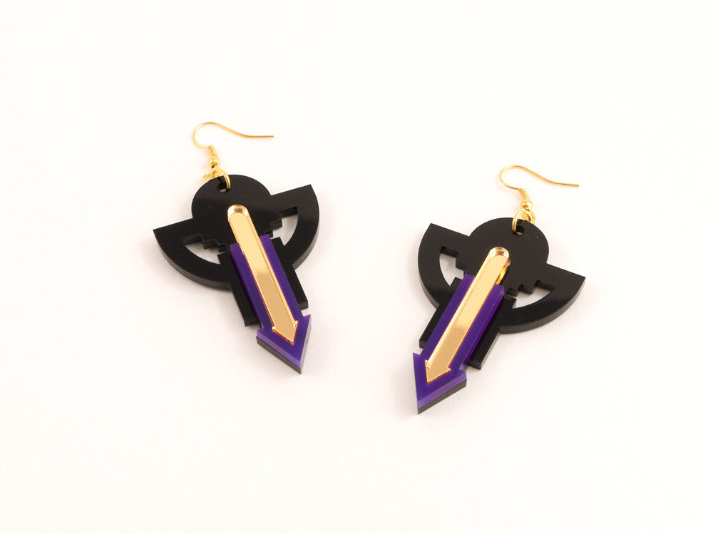 FORM009 Earrings - Purple, Gold