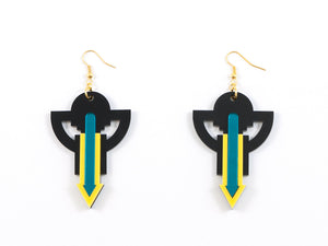 FORM009 Earrings - Yellow, Teal