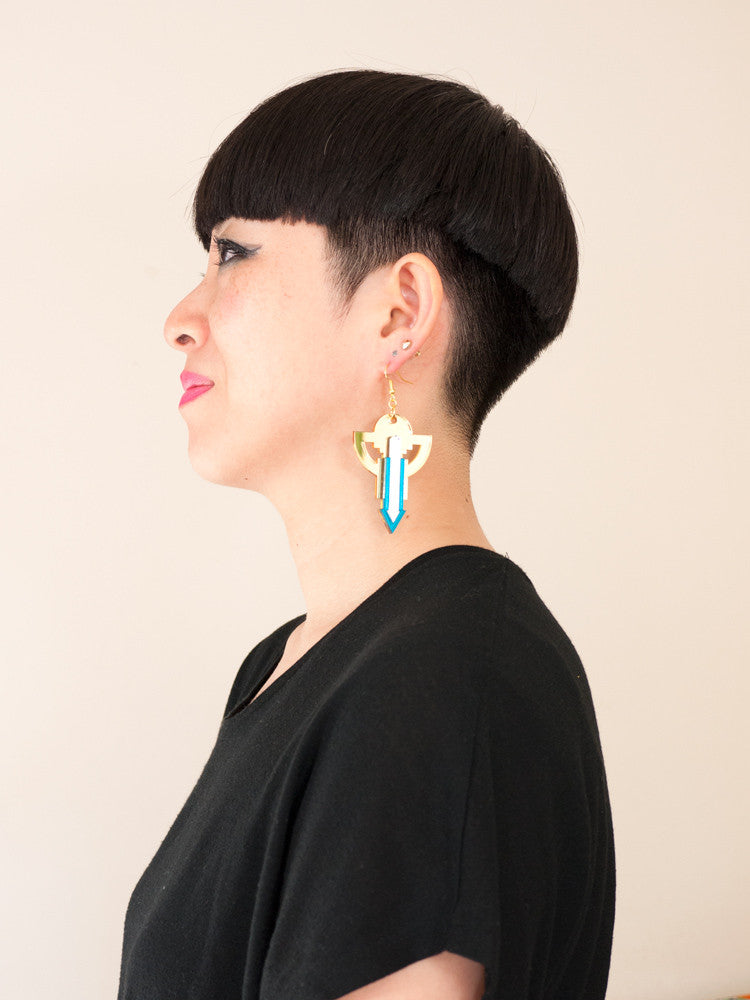 FORM010 Earrings - Gold, Silver, Teal