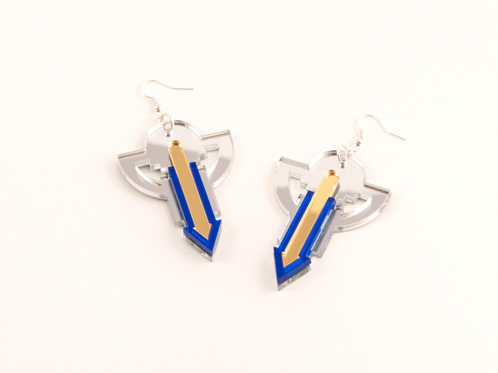 FORM010 Earrings - Silver, Gold, Blue