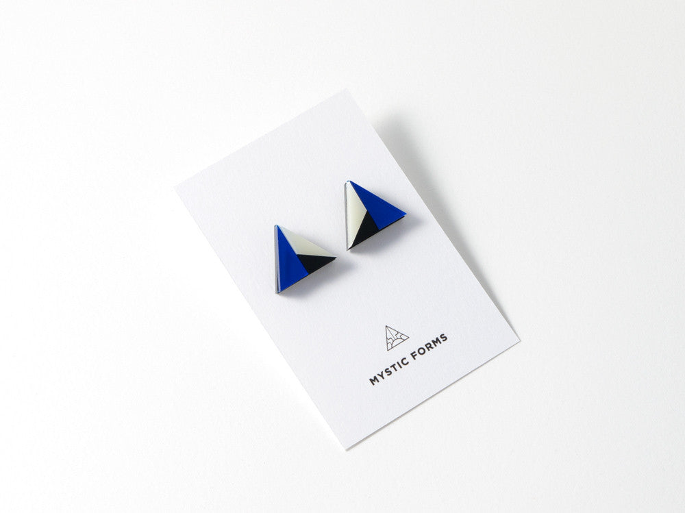 FORM011 Earrings - Blue, Black, Ivory